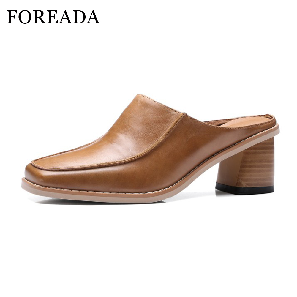 FOREADA Real Läder Skor Kvinnor Tofflor Kvinna Casual Äkta Läder Mules Square Toe Tjock Högklackor Brun Storlek 40 Zapatos