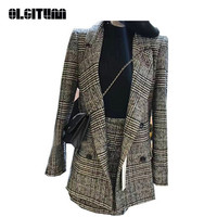 New 2018 Wool Blazer+ Skirt Two Piece Set Women Winter Suit Houndstooth Long Sleeve Turn down Collar Coat Office Lady Elegant