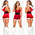 Hot 2016 Europe Style Christmas Halloween Costume Sexy Conjoined Christmas Uniform Temptation Women Sexy Lingerie