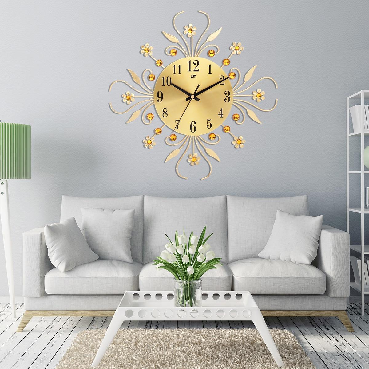 35cm Black Gold Hanging Wall Clock Home Decor 3D Modern Metal ...