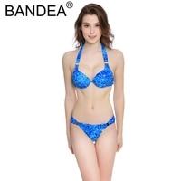 BANDEA Bikini 2017 Low Waist Swimwear Women Newest Underwire Low Waist Women Solid Push Up Swimwear