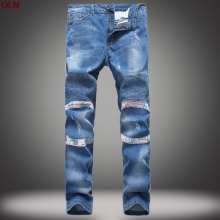 2017 male fold light color elastic small straight locomotive jeans tide of cultivate one's morality