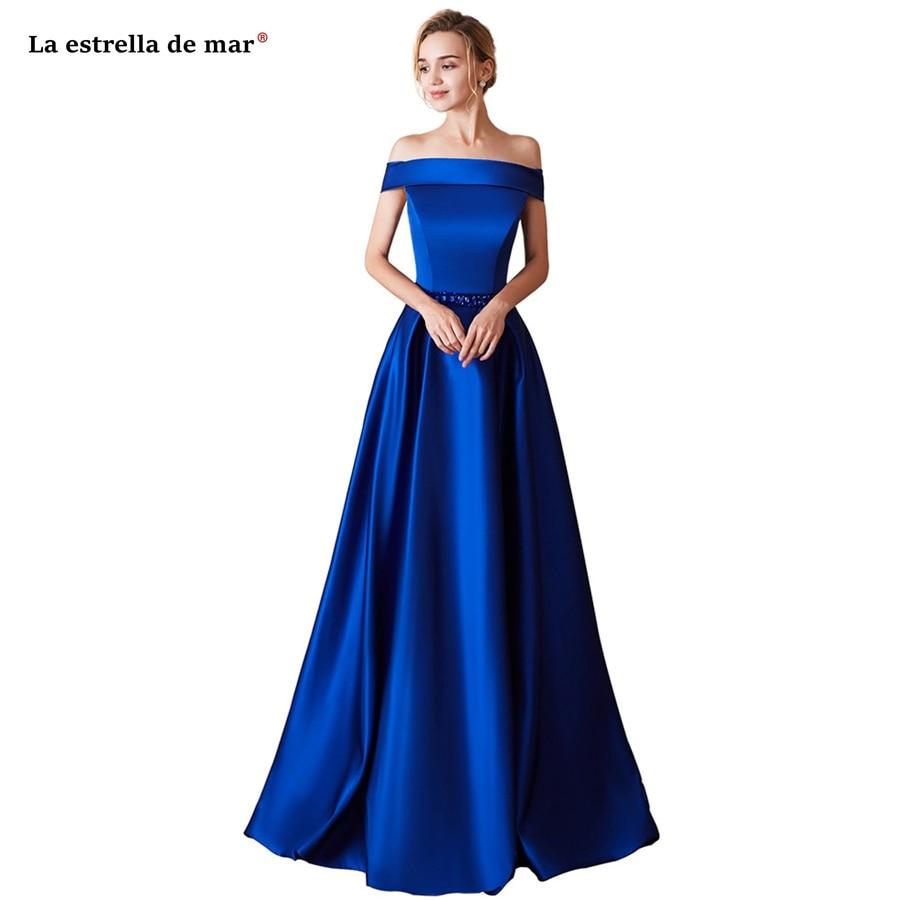 La estrella de marvestidos de madrinha 2019 new satin crystal Boat Neck cap sleeve a line Royal blue   bridesmaid     dress   long