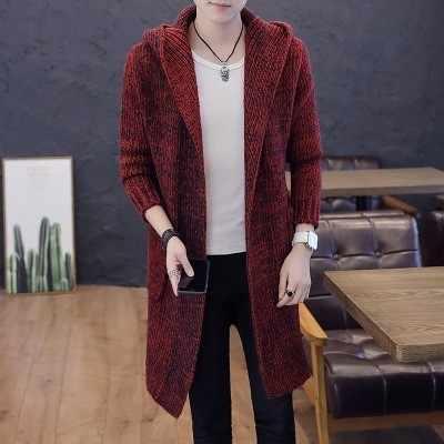 2018 осень зима новый мужской длинный свитер сплошной цвет длинный рукав с капюшоном свитер пальто верхняя одежда мужской Повседневный свитер кардиган