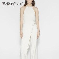 TWOTWINSTYLE بلا أكمام تي شيرت للنساء غير متناظرة عارية الذراعين الرسن سليم الأبيض طويل البلوز 2020 الربيع ملابس عصرية
