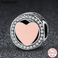 INBEAUT Women Trendy Round Zircon Necklace Pendant Beads 925 Sterling Silver Cute Pink Heart Enamel Charm