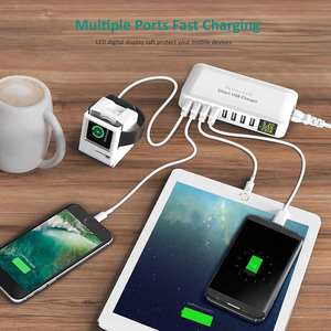Image 5 - INGMAYA Multi Port USB Charger 5V8A LED Show Real Time Charging For iPhone iPad Mini Samsung Huawei Pixel Mi DV AC Power Adapter