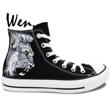 Wen Original Design Custom Black Hand Painted Shoes Lion Men Women's High Top Canvas Sneakers for Christmas Birthday Gifts