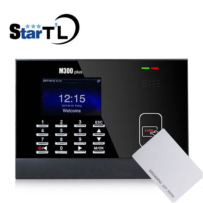 Free Shipping 3 Inch Color Screen ZK M300Plus Rfid Card Time Attendance Card Time Recorder Time Clock With ID Card Reader