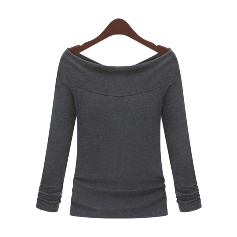 Off Shoulder Women Girl Long Sleeve Autumn T Shirts Boat Neck Slim ...