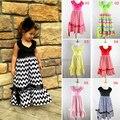 Promoção Drapeado Venda Quente! varejo Meninas Vestido Chevron Maxi, Vestidos de Algodão adorável Halter Para A Menina Verão 1-8 Anos de Idade As Crianças de Praia
