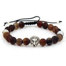 2019 Fashion Men Women Adjustable  Bracelet Lion Head 8mm Natural Stone Beads Braiding For Jewelry Gift