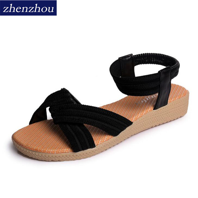 ZHENZHOU Sandal women summer new 2018 Women shoes simple flat fish-mouth sandals with pure colored elastic sandals Big size стоимость