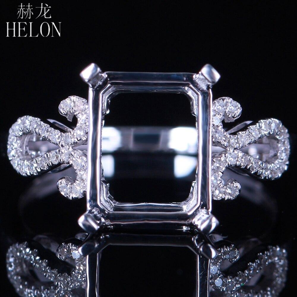 HÉLON Réel 14 K Or Blanc 9x7-10x8mm Émeraude Semi-Mont Pave Naturel de Fiançailles de Diamant À La Mode De Mariage Romantique Bijoux anneau