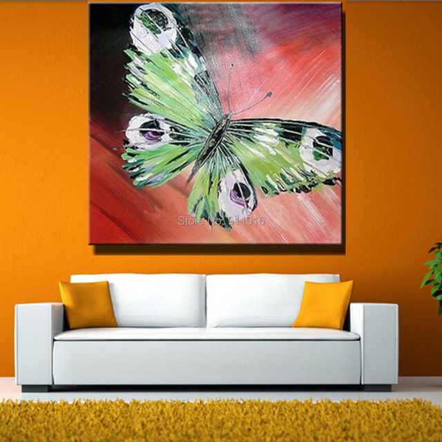 Hand Painted Abstract Butterfly Picture Home Decor Knife Oil