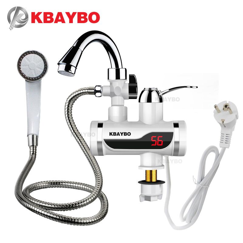 3000W Temperature Display Instant Hot Water Tap Tankless Electric Faucet Kitchen Instant Hot Faucet Water Heater Water Heating ...