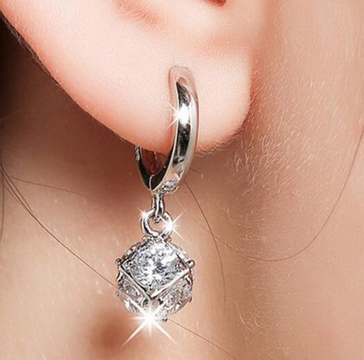 925 Sterling-silver-jewelry Crystal Ball AAA CZ Z Stud Earrings For Women Earings Sterling Silver Jewelry VES6085(China)