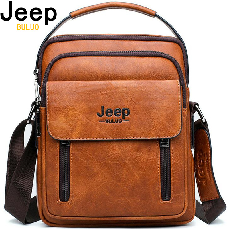 JEEP BULUO Brand Men Messenger Bags New Tote Crossbody Business Casual Handbag Male Spliter Leather Shoulder Bag Large Capacity