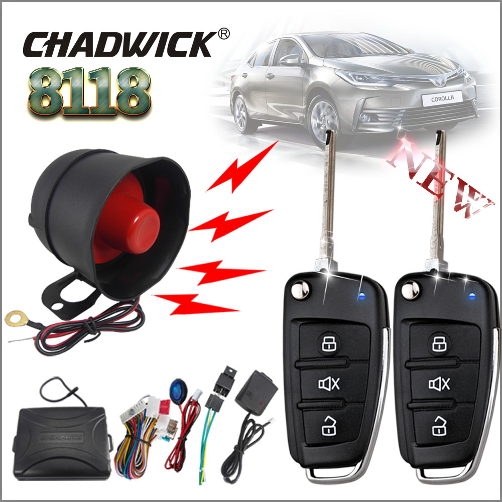 CHADWICK 8118 for Toyota Corolla #2 flip key Car Alarm System Universal Siren one-Way Auto Security Keyless Entry anti-theft