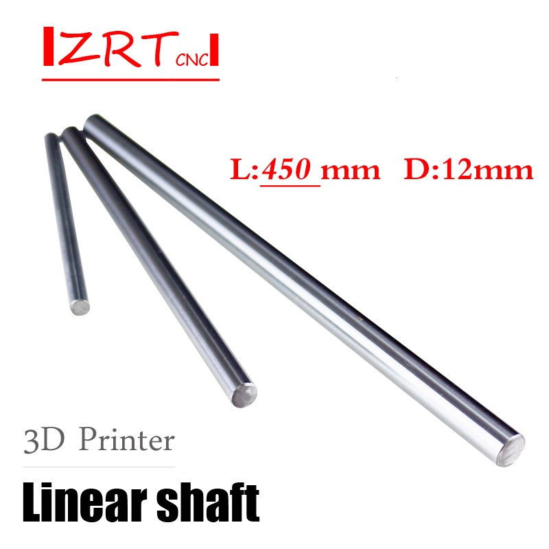 3D printer rod shaft WCS 12 mm linear shaft L 450 mm 12x450 chrome plated linear motion guide rail round rod Shaft for cnc robot one pcs cnc linear shaft chrome od 10mm l 500mm wcs round harden steel rod bar cylinder linear rail for cnc parts