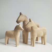 SET Sweden darla wooden horse decoration blank white blank rough color painting material sculptures room