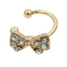 1 Pc Gold/Silver Cute Bow Tie Knot Ear Wrap Earring Rhinestone Alloy Cuff Clip On Earrings Jewelry For Women Girls CX17