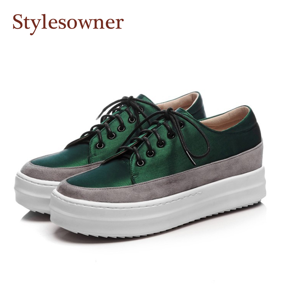 Stylesowner Dark Green Women Platform Shoe Lace Up Thick Bottom Casual Fashion Lady Girl Street Dress Shoes White Sole Shoe 2017 british style women casual shoes street snap low top platform wedge shoes black white lace up thick bottom shoes women