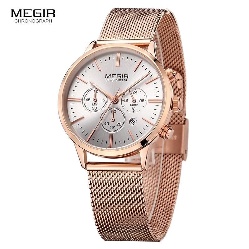 MEGIR Women Stainless Steel Mesh Bracelete Quartz Watches Chronograph 24 Hours Date Display Analogue Wristwatch For Lady 2011L