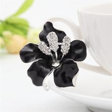 2017 Hot Sale Flowers Enamel Rhinestone Crystal Lily Flower Brooches For Women Wedding Bridal Brooch Women's Brooch Jewelry