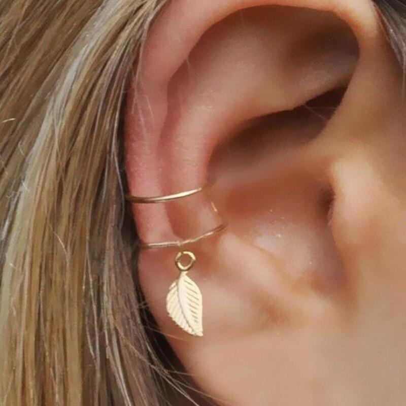 Fashion No Pierced Ear Clip Cuff Wrap Earrings Leaf Feather Pendant Non-piercing Clip Earrings For Women Party Statement Jewelry