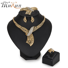 MUKUM African Beads Jewelry Set earings fashion jewelry Dubai gold -color Nigerian Wedding Bridal Costume