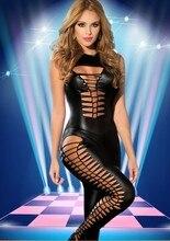 Moonight Готический Твердые Черный комбинезон искусственная кожа без рукавов комбинезон выдалбливают Клубная одежда Глубокий V Pole Dance костюм