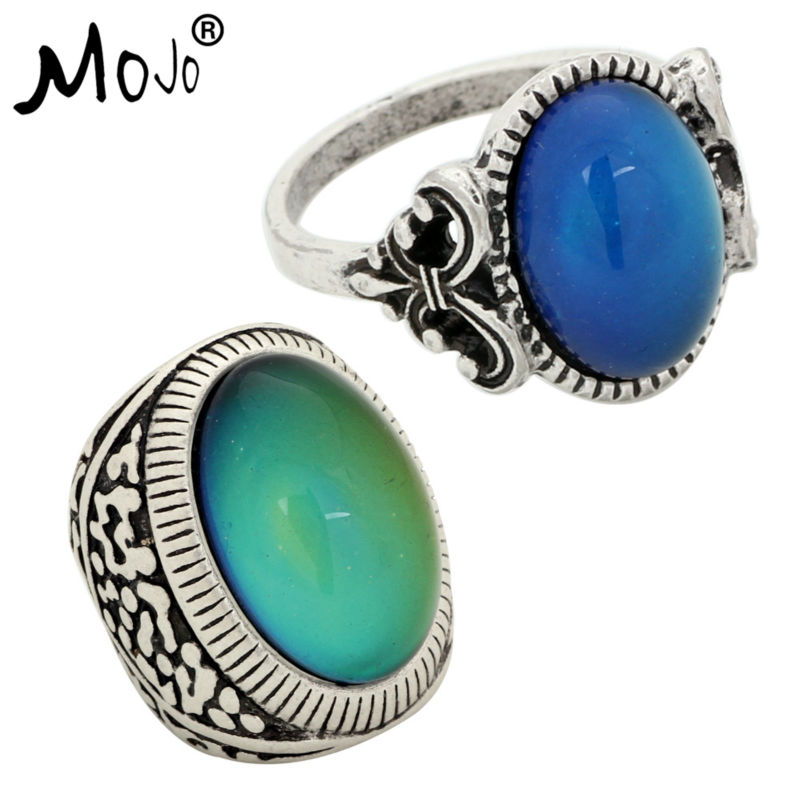 2PCS Antique Silver Plated Color Changing Mood Rings Changing Color Temperature Emotion Feeling Rings Set For Women/Men 008-031