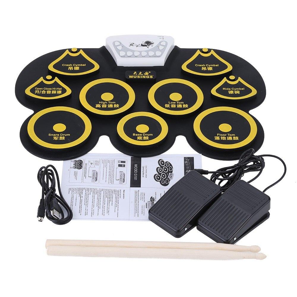 Mini kit de batterie usb en silicone tampon de pédale de grosse caisse électronique machine à jouets pour enfants avec pilons instrument de musique à percussion