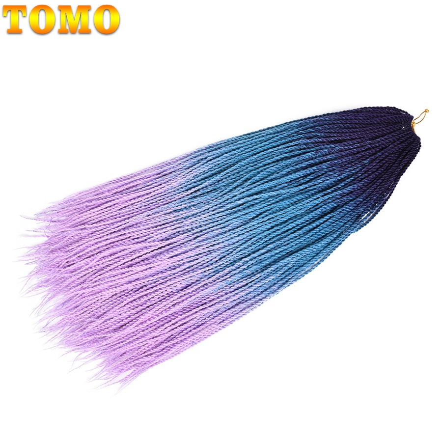 TOMO 24Inch Ombre Senegalese Twist Hair Crochet braids 30Strands Synthetic Colored Braiding Hair For Women