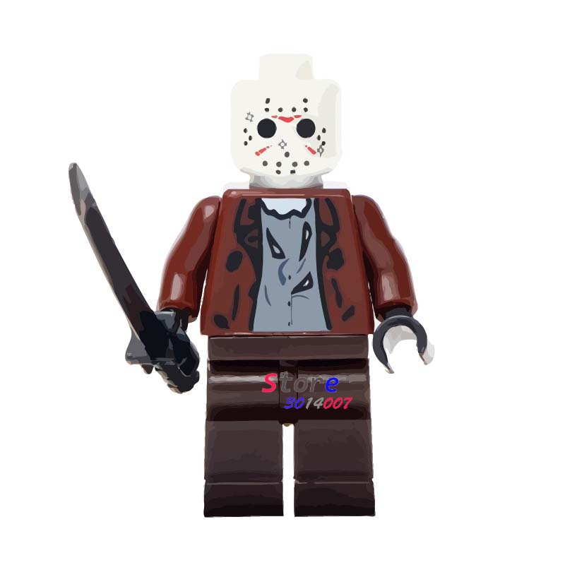 Single star wars Halloween The Horror Theme Movie Jason Hockey Mask Guy building blocks models bricks toys for children kits plastic standing human skeleton life size for horror hunted house halloween decoration