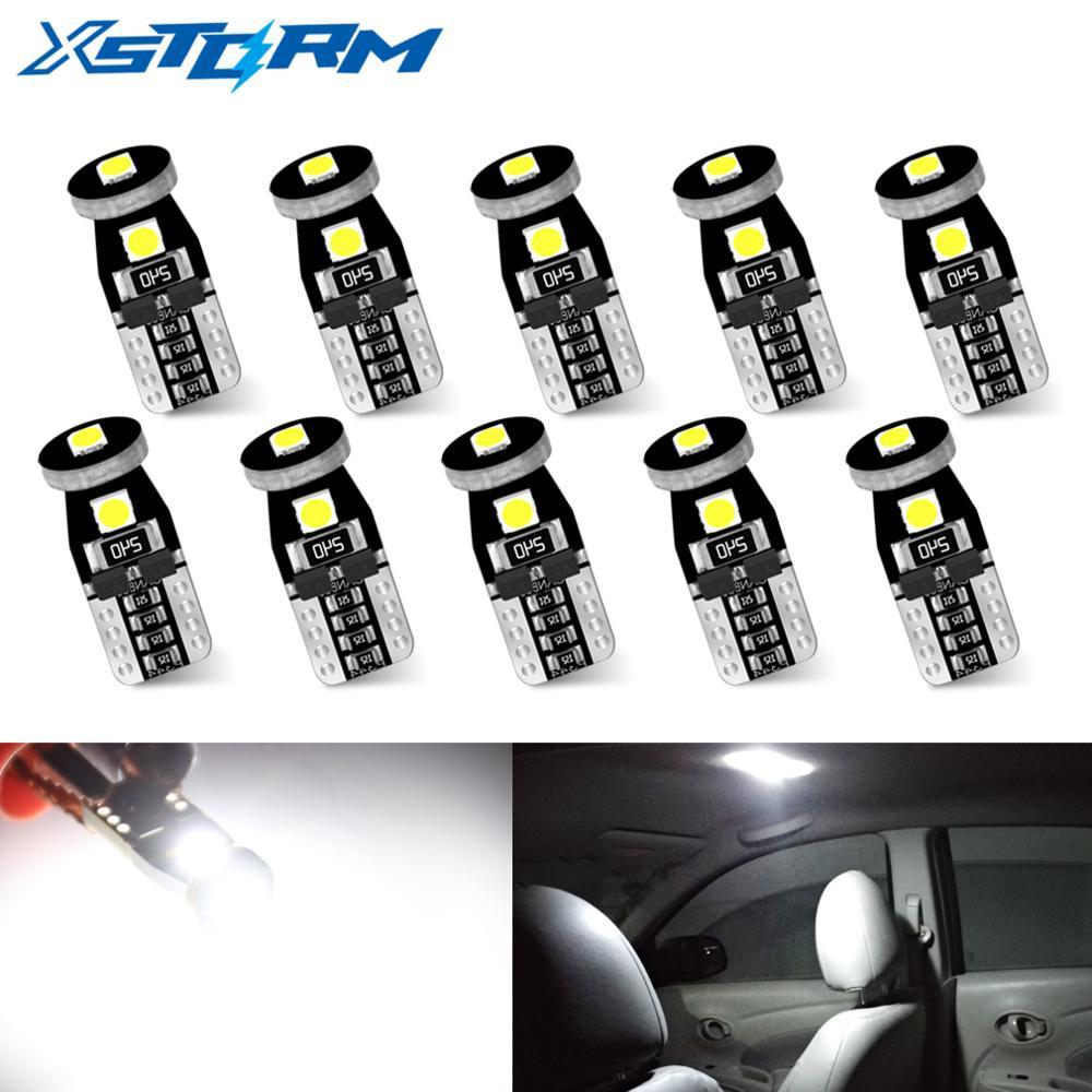 10Pcs T10 Led Canbus W5W Led Bulbs 168 194 Car Interior Lights Signal Lamp Dome Reading License Plate Light Auto 12V 6000K White