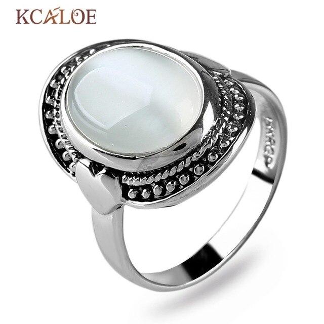 Kcaloe ovale opal anelli per le donne argento antico - Colore del giorno di san valentino ...