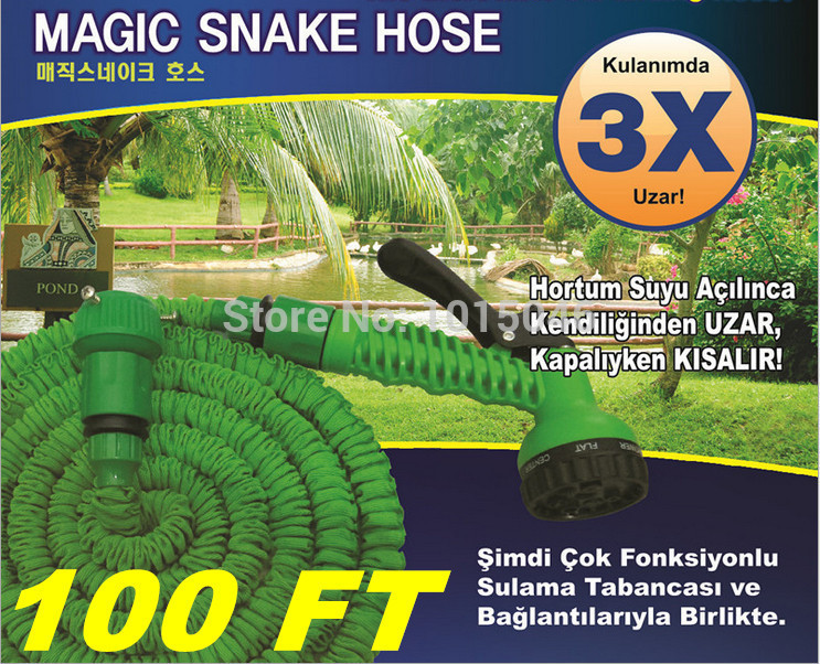 Free Shipping 1X 100FT Retractable Hose Water Pipe After 30 Meters Hose With Gun Imperially Magic