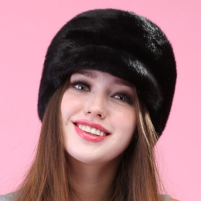 autumn winter Super warm snow show women genuine rex mink fur muffs Russian style cap lady luxur fur hat hair lovely fur