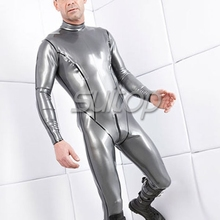 Suitop breast zip sexy rubber catsuit with bodyline