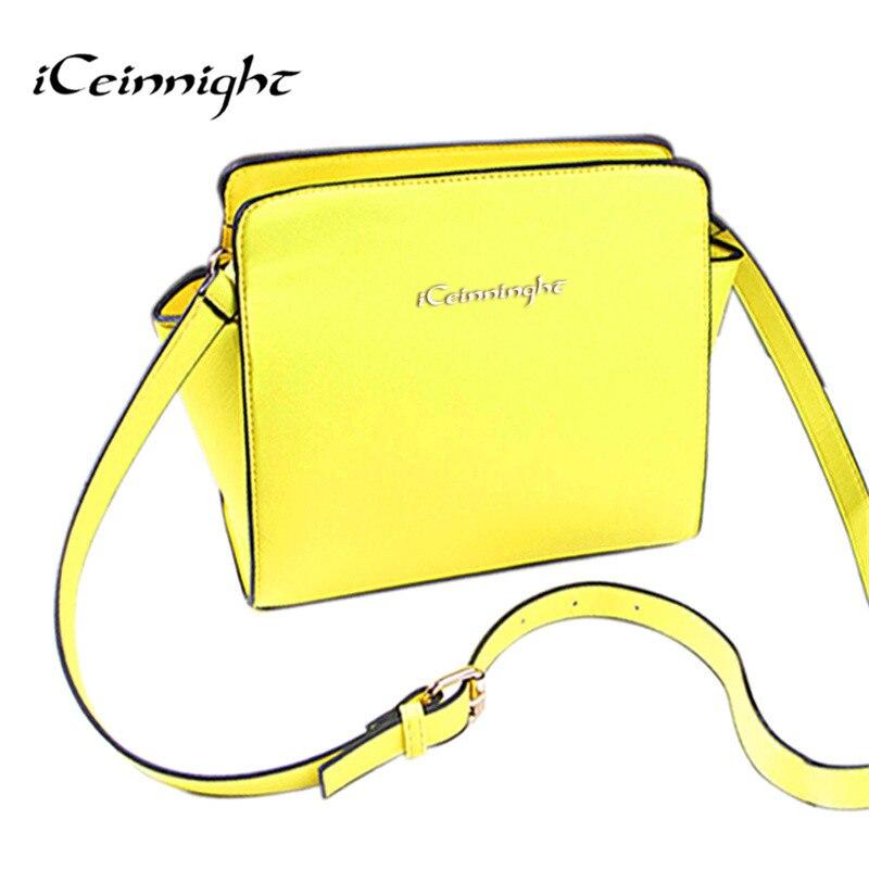 iCeinnight women messenger bags famous brand nylon crossbody shoulder bag luxury handbags bags designer yellow bolsas femininas