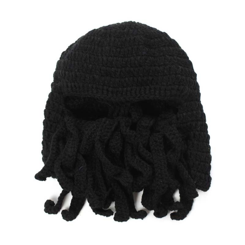 Funny Tentacle Octopus Knitted Beanie Hat Cap Wind Mask Winter Warm Hats Masks -MX8  handmade crochet octopus hat squid tentacle ski mask wool knit cosplay winter funny costume beanie