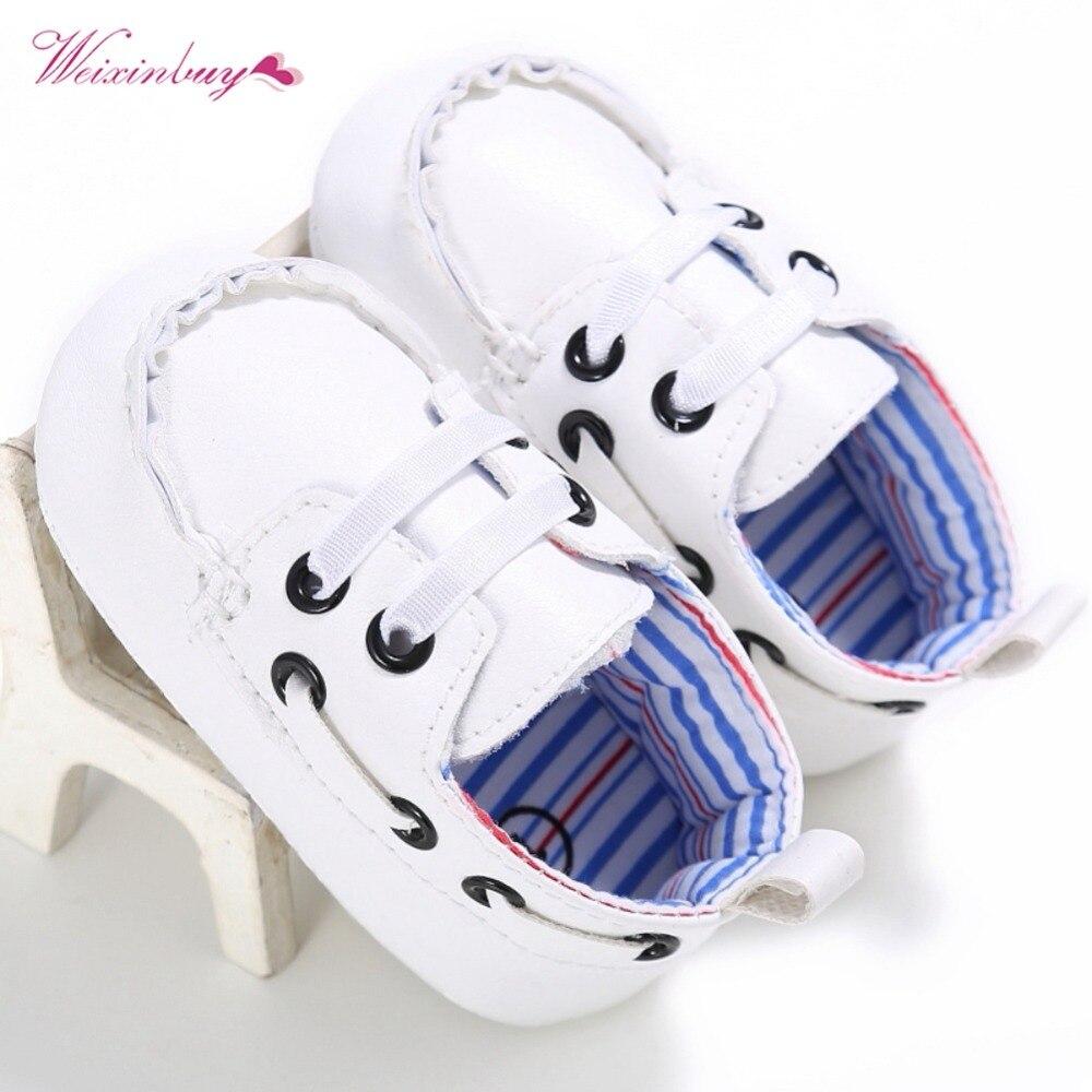WEIXINBUY 2018 Newborn Unisex Baby Boy Girl Soft Sole Crib Shoes PU Sneakers Prewalker Casual First Walkers Shoes 0-18M