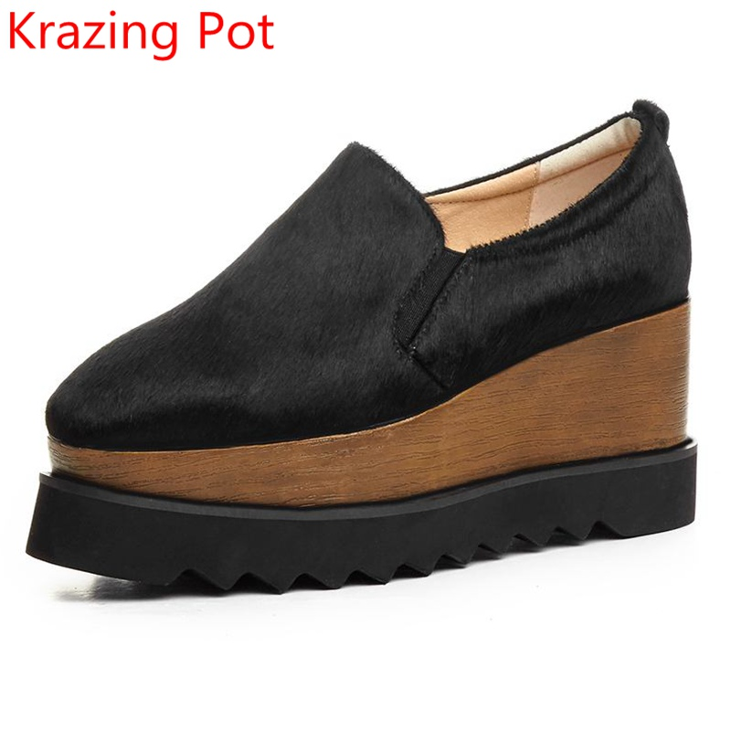 Fashion High Heel Women Brand Shoes Waterproof Wedges Lady Horse Hair Loafers Square Toe Increased Platform Casual Shoes L8F5 europe america fashion star cutout lace up high heel shoes for women square toe platform wedges brogue oxford casual shoes us 10