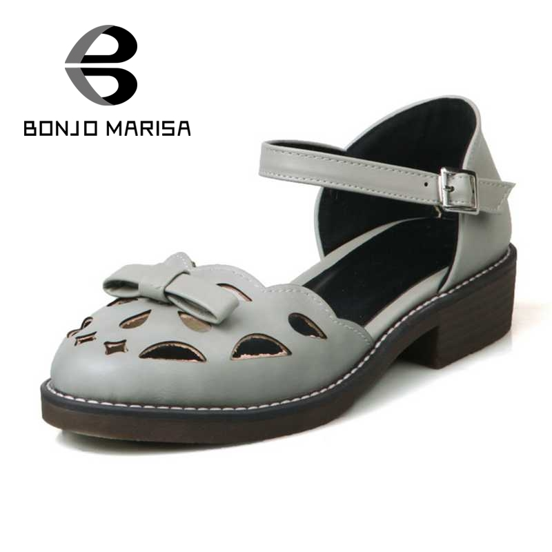 ФОТО BONJOMARISA Fashion Women Summer Cutout Shoes Woman Mary Jane Buckle Strap Chunky Heel Platform Sandals Bowtie Ladies Footwear