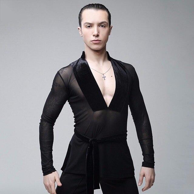 Male Latin Dance Shirts Deep V Neck Collar Ballroom Black Dance Tops