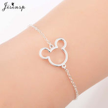 Jisensp Stainless Steel Cute Mickey Pendant Bracelet Charm Jewelry for Women Cartoon Minnie Bracelets Bangles Kid pulseras mujer(China)