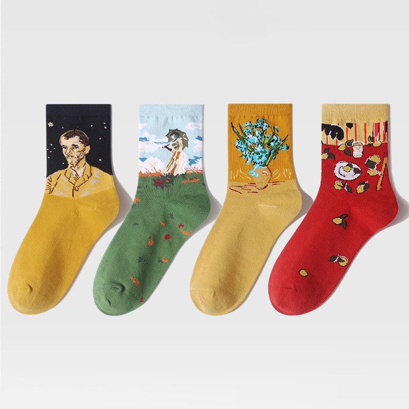 Fashion Art Painting Funny Socks Women Men Cotton Crew Socks Happy Socks Harajuku Casual Sport Socks Hosiery High Quality