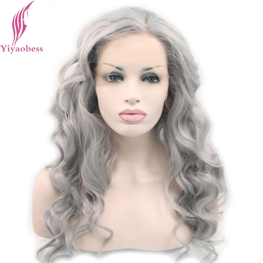 Yiyaobess Loose Wave Syntetisk Lace Front Wig Värmebeständigt - Syntetiskt hår